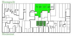 Detail uit de kadastrale kaart van 1876 van de Bloemgracht. De panden Bloemgracht 65a – 71 zijn lichtgroen. De achterhuisjes waarvan diverse malen sprake is in dit artikel, zijn donkergroen gekleurd.